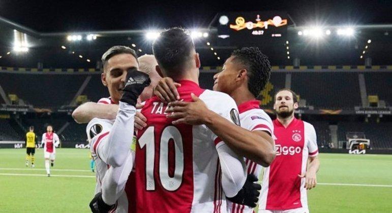 A alegria dos jogadores do Ajax