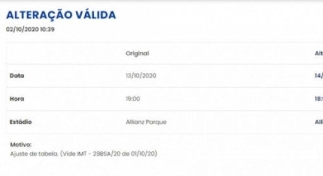 Ajuste tabela Palmeiras x Coritiba