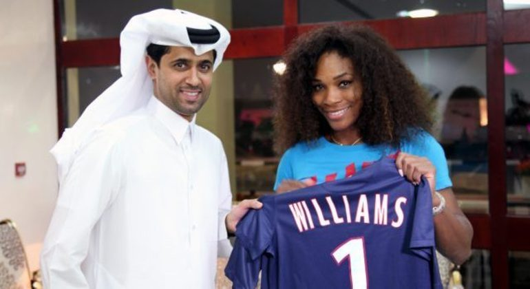O ex-tenista Al-Khelaifi, presidente do PSG, com Serena Williams