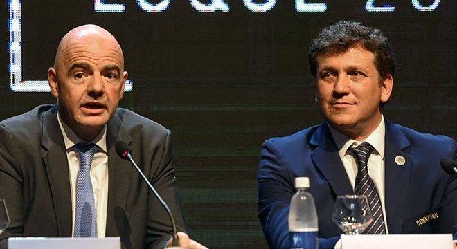 Além da data da final única, a Conmebol anunciou apoio para a reeleição do presidente da Fifa Crédito: Conmebol / Divulgação / CP