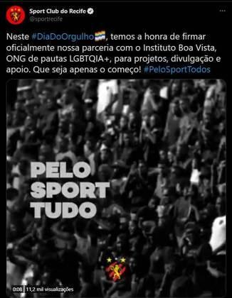 """Além de uma publicação especial, o Sport anunciou uma parceria com a ONG Instituto Boa Vista, que ajuda a população LGBTQIA+ em Pernambuco, para """"projetos, divulgação e apoio"""" à instituição."""