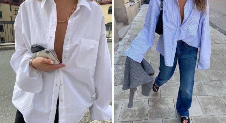 A única regra é manter a camisa solta, para fora da calça. Para adicionar charme extra, abra alguns botões. Dobrar a manga é opcional, já que o visual com peças largas e soltas é uma das marcas do momento