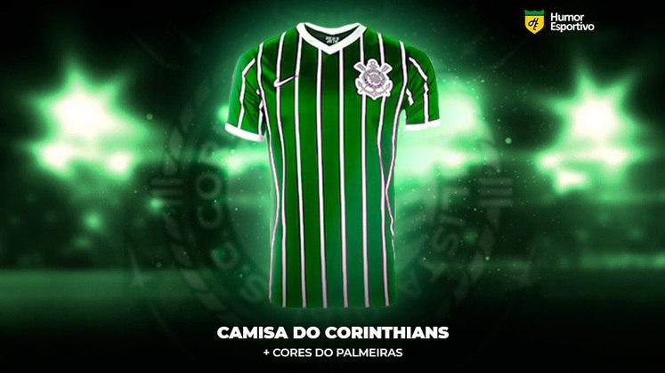 Alerta de treta! Já imaginou se alguns clubes brasileiros, por um momento de insanidade, fizessem uniformes com alguns traços nas cores do rival? O Humor Esportivo mostra como poderiam ficar! Para começar, a camisa do Corinthians com um pouco de verde do Palmeiras!