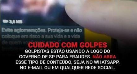 Alerta para golpes com o logo do governo do estado de São Paulo