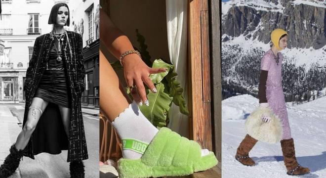 Alerta tendência! Calçados com pelo roubam atenção na semana de moda