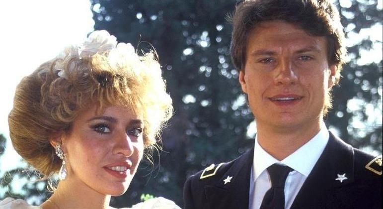 Alessandra Mussolini e Mauro Floriani, no seu casamento