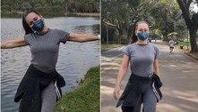 Alessandra Negrini cuida da boa forma e faz pose no Ibirapuera