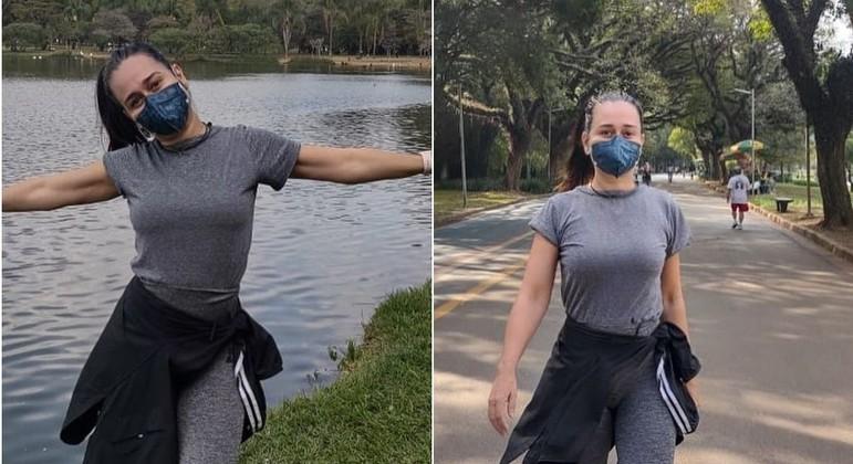 Alessandra Negrini foi praticar exercícios no parque Ibirapuera e aproveitou para tirar fotos