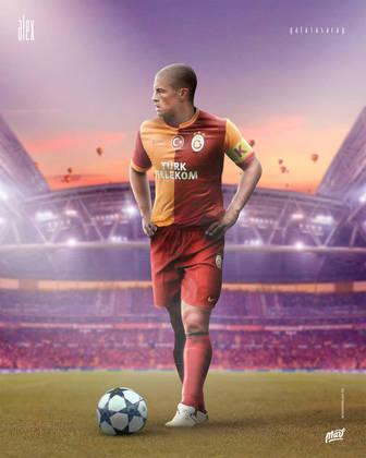 Alex, ídolo do Fenerbahçe, vestindo a camisa do rival Galatasaray.