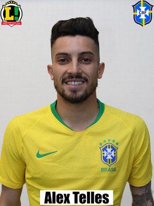 Alex Telles - 6,0: Entrou no segundo tempo no lugar de Renan Lodi. Menos agudo em relação a Renan Lodi, Alex Telles foi importante dando mais consistência defensiva no lado esquerdo do campo do Brasil e deu mais liberdade a Neymar.