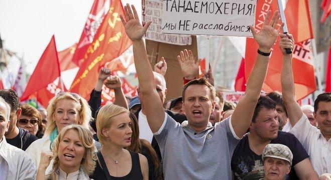 O líder da oposição e blogueiro russo Alexei Navalny liderou uma série de marchas e protestos exigindo reformas políticas