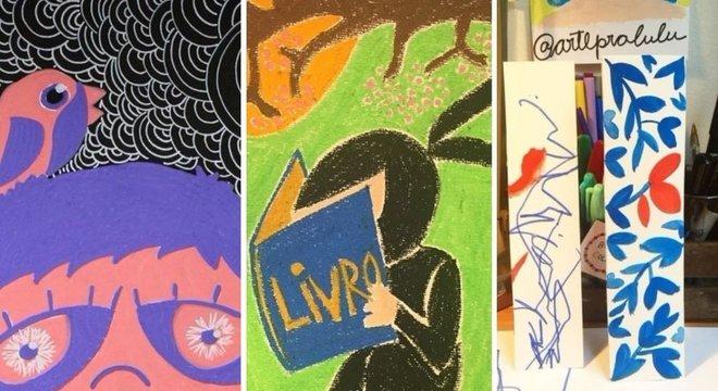 """""""A história de Lulu não é triste. Ao contrário, a história de Lulu é cheia de amor e arte"""", conta Manuela; acima, algumas das ilustrações que ela fez para o filho e, na terceira foto, a versão dele e dela para um desenho de flores"""