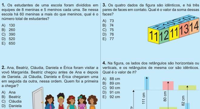 Alguns exercícios da prova do ensino médio da Olimpíada Brasileira de Escolas Públicas, que incentivam o raciocínio