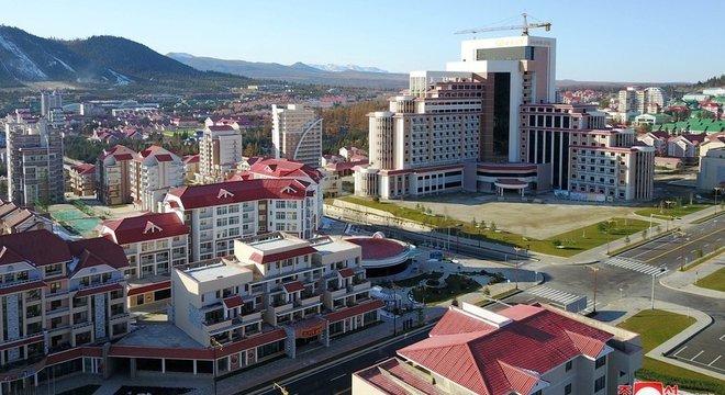 Alguns lugares ainda estão em construição ao redor de Samjiyon