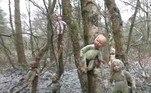 A floresta deCannock Chase, emStaffordshire, continha diversas bonecas pintadas e dispostas em círculos