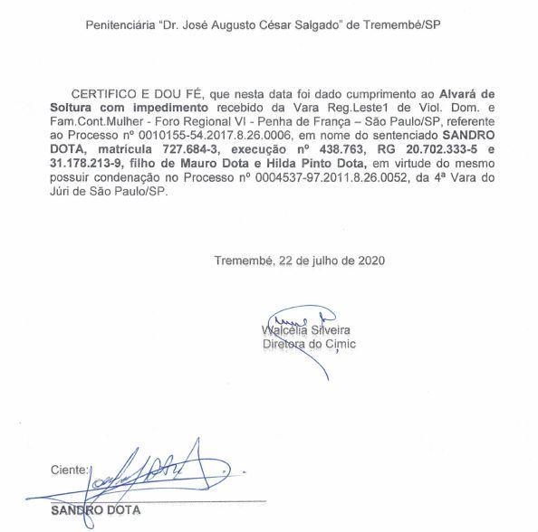Alvará de soltura de Sandro Dota assinado na penitenciária de Tremembé