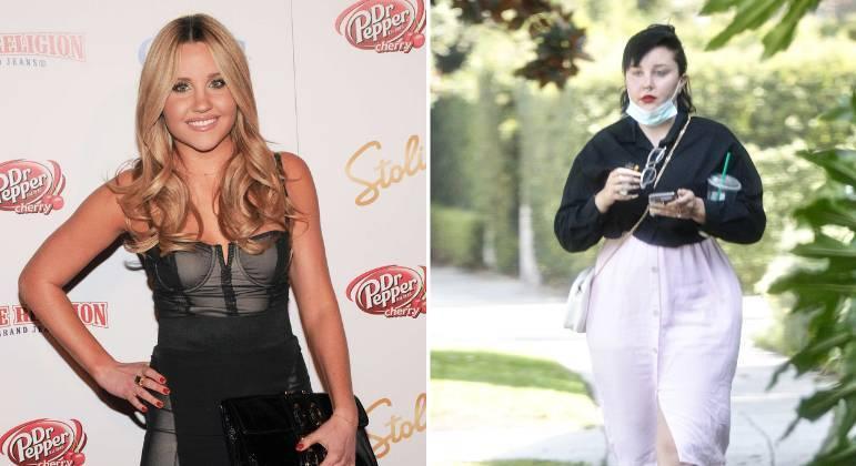 Amanda Bynes em 2009 à esquerda e em 2021 à direita