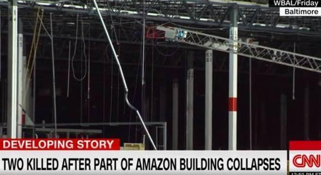 Imagem do armazém que desabou parcialmente e matou duas pessoas