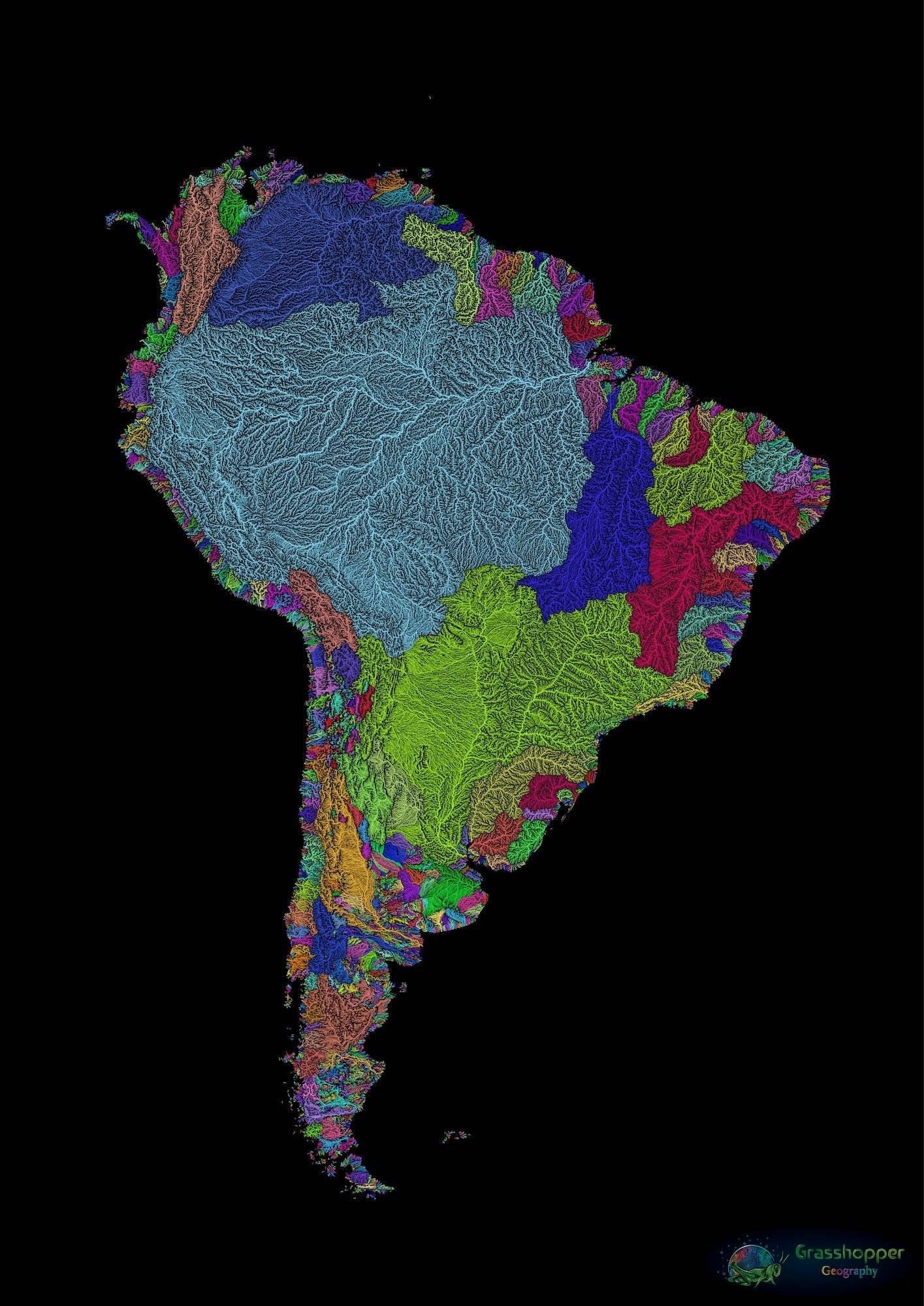 Bacia amazônica é destaque em mapa da América do Sul