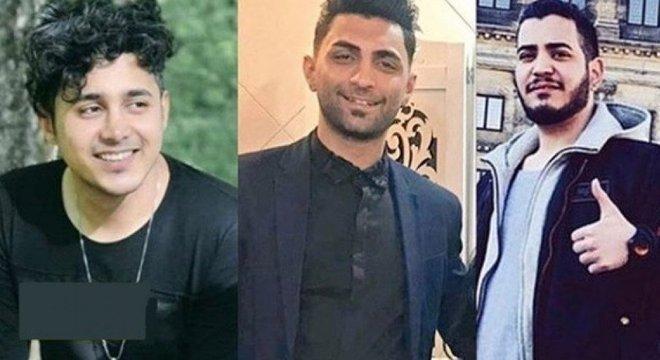Da esq. p/ dir: os réus Amir Hossein Moradi, Saeed Tamjidi e Mohamad Rajabi