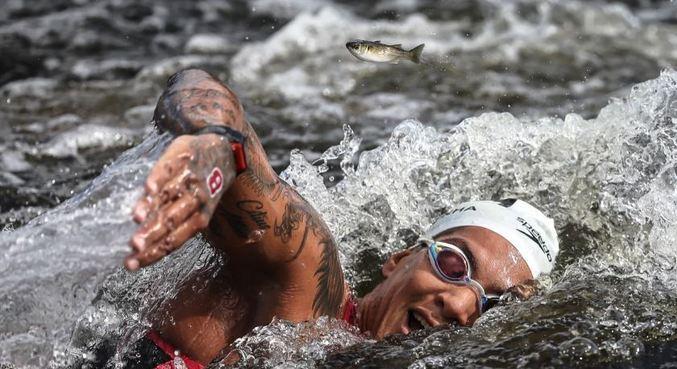 Ana Marcela nadando com peixe em maratona aquática