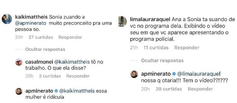 Avisada por seguidores, Ana Paula Minerato xingou Sônia Abrão