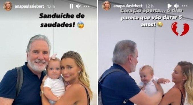 Ana Paula Siebert chorou ao se despedir da filha no aeroporto