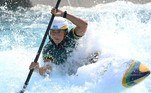 Brazil's Ana Satila competes in the women's kayak heat run during the Tokyo 2020 Olympic Games at Kasai Canoe Slalom Centre in Tokyo on July 25, 2021.