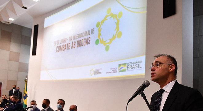 O ministro da Justiça e Segurança Pública, André Mendonça, em evento