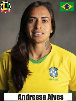 Andressa Alves - 8,0 - Entrou bem no segundo tempo, sofreu pênalti no fim, e ela mesmo foi para a cobrança para fazer o quarto gol brasileiro.