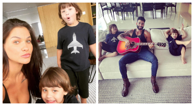 Andressa exibiu imagens de Gusttavo Lima e os filhos após feriado