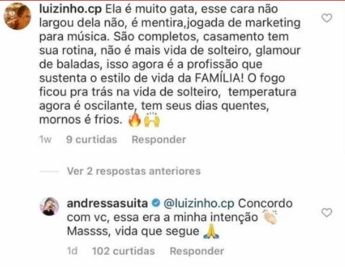 Uma semana após o comentário, Andressa respondeu