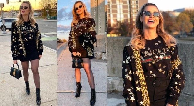 Andressa Suita apostou num look todo estiloso e praticamente todo da grife Gucci.