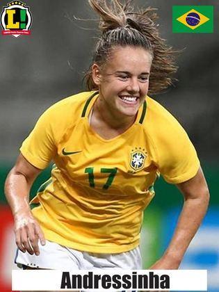 Andressinha - 6,5 - Atuação da volante também foi segura. Brasil controlou o jogo na maior parte do tempo e ela não teve muito com o que se preocupar.