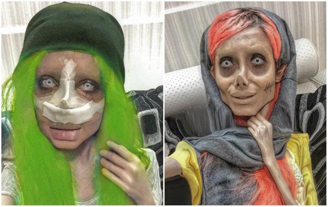 Você talvez já conheça Sahar Tabar, uma iraniana de 20 anos que ficou mundialmente conhecida por suas fotos bizarras como sósia 'zumbi' da Angelina Jolie. Apesar de haver um segredo para fotos tão esquisitas assim (maquiagem e efeitos digitais), Sahar também faz cirurgias reais