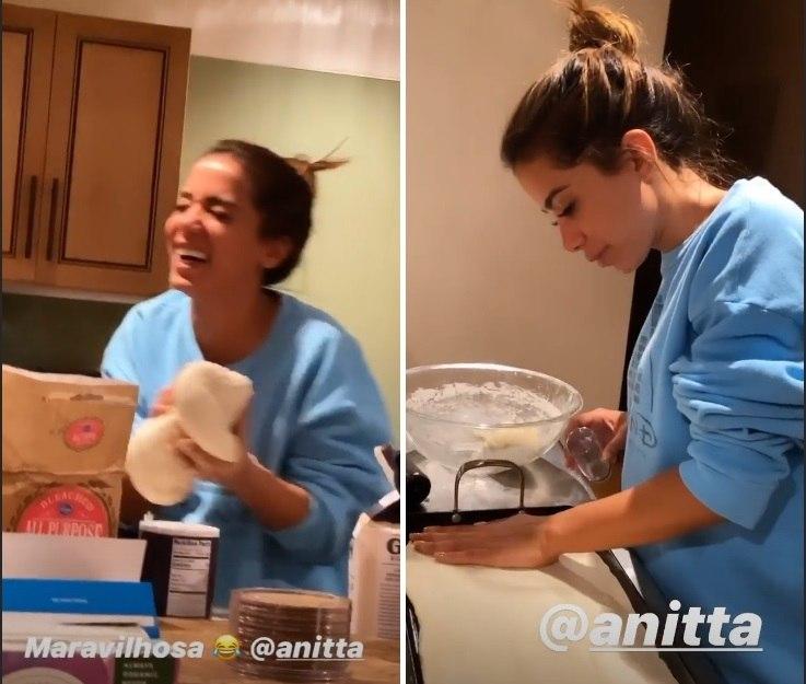 Lexa flagra Anitta fazendo pizza para os amigos em Aspen