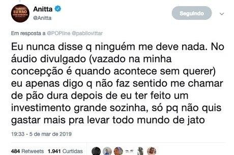 Anitta tratou de se manifestar pelo Twitter
