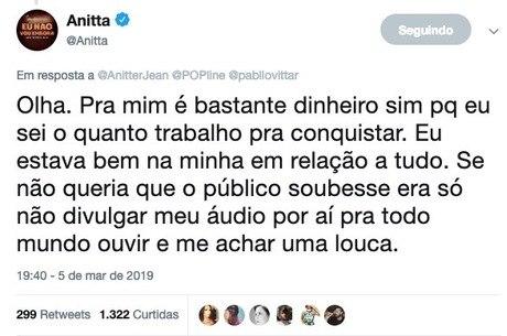 Cantora direcionou resposta a Pabllo Vittar