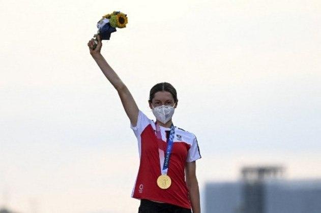 Anna Kiesenhofer foi a campeã do ciclismo de estrada feminino.