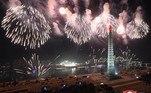 Uma enorme comemoração aconteceu em Pyongyang, capital da Coreia do Norte, para comemorar a virada para 2021