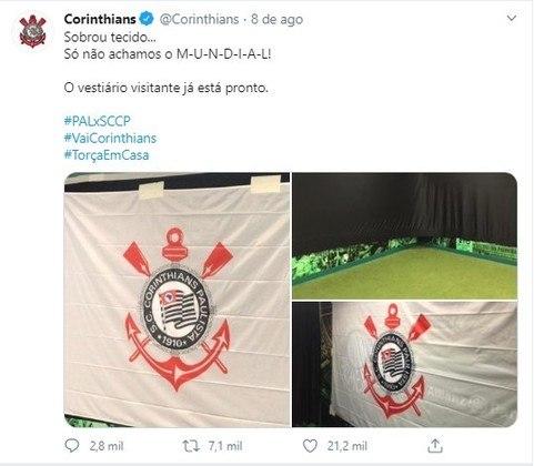 Antes da final do Campeonato Paulista, Palmeiras e Corinthians colecionaram provocações. No segundo jogo, o Corinthians estendeu uma bandeira do clube no vestiário dos visitantes e provocou nas redes sociais...