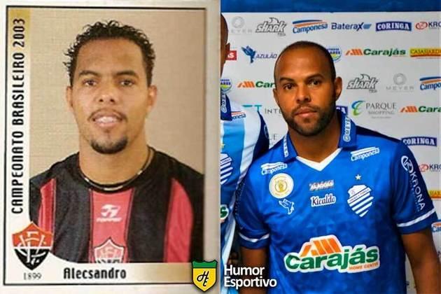 Antes e depois: Alecsandro em 2003 pelo Vitória. Em 2019, disputou o Brasileirão pelo CSA.