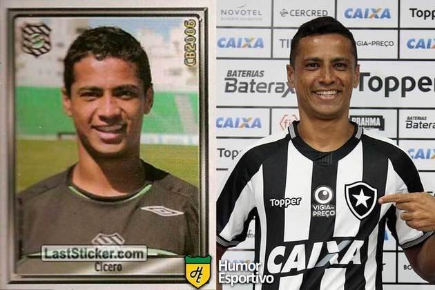 Antes e depois: Cícero em 2006 pelo Figueirense. Atualmente defende o Botafogo.