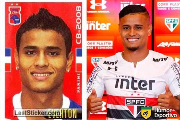 Antes e depois: Éverton em 2008 pelo Paraná. Após alguns anos no São Paulo, atualmente defende o Grêmio.