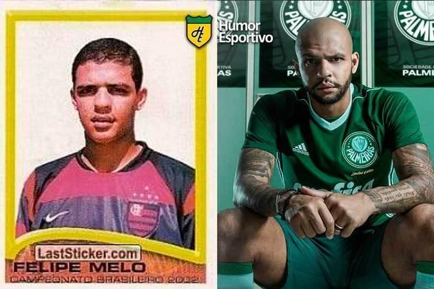 Antes e depois: Felipe Melo em 2002 pelo Flamengo. Atualmente defende o Palmeiras.