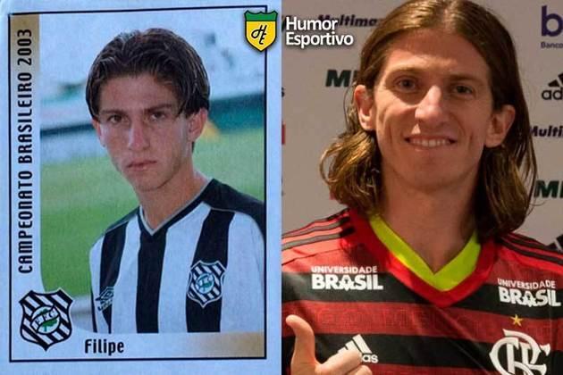 Antes e depois: Filipe Luís em 2003 pelo Figueirense. Atualmente defende o Flamengo.
