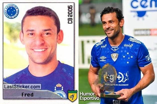 Antes e depois: Fred em 2005 pelo Cruzeiro. Em 2019, voltou ao clube. Hoje em dia está no Fluminense