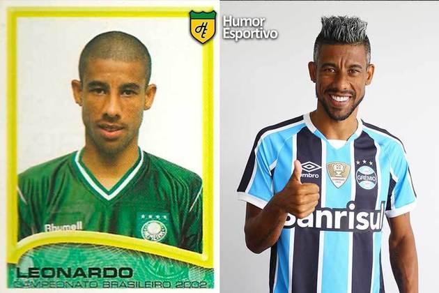 Antes e depois: Leonardo Moura em 2002 pelo Palmeiras. Em 2019, disputou a temporada pelo Grêmio.