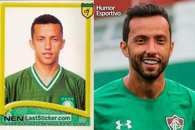 Antes e depois: Nenê em 2002 pelo Palmeiras. Atualmente está no Fluminense.