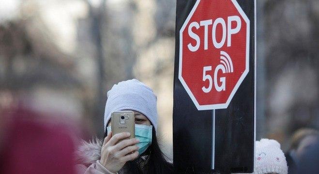 Protesto contra o 5G em Berlin, Alemanha